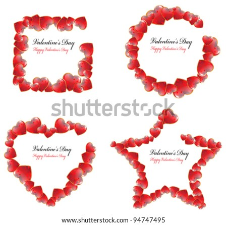 Set Valentines Day Frames Shape Square Stock Vector (Royalty Free ...