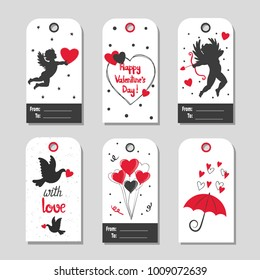 Set of Valentine's Day gift tags. Vector illustration in black and red colors.