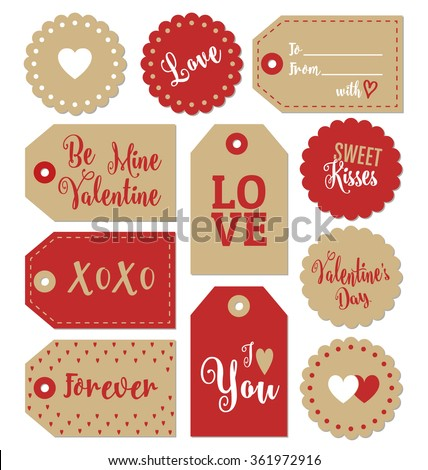 Set Valentines Day Gift Tags Typographic Stock Vector Royalty Free