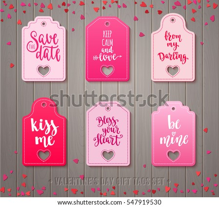 Set Valentines Day Gift Tags Decorative Stock Vector Royalty Free