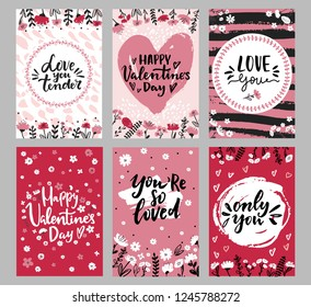 Set of Valentine's day greeting cards with hand written greeting words and floral wreaths and branches and brush strokes on background