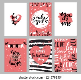 Set of Valentine's day greeting cards with hand written lettering greeting words and floral wreaths and branches and brush strokes on background