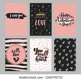 Set of Valentine's day greeting cards with hand written greeting lettering and decorative textured brush strokes on background. Happy Valentine's day, Love you words