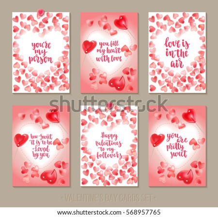 Set Valentines Day Greeting Cards Handwritten Stock Vector Royalty