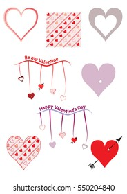 Set of Valentine's Day Hearts and Patterns