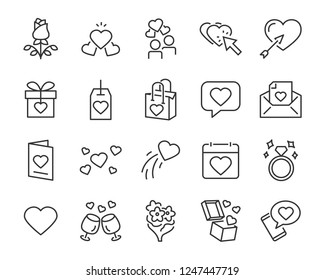 set of valentine's day icons, such as celebration, happy, romantic, heart, love