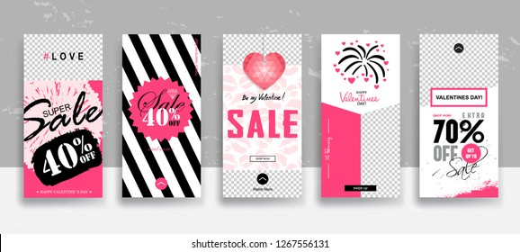 Set of Valentine's day Instagram Sale Stories template. Streaming. Creative universal Editable cards  in trendy style with Hand Drawn textures on transparent background for social media promo. Vector
