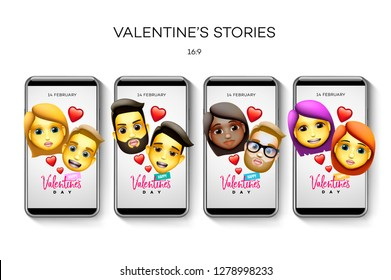 Set of Valentine's day Instagram stories template. Streaming. Creative universal Editable cards in trendy style with couple characters, animoji style, vector illustration.
