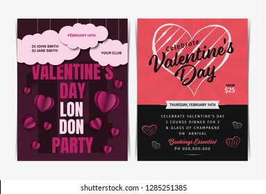 Set of Valentine's day invitation party flyers template. Vector illustration.