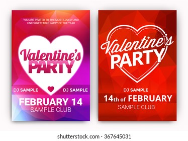 Set Of Valentine's Day Party Poster Designs - Collection of Club Party Designs for the Celebration of Love