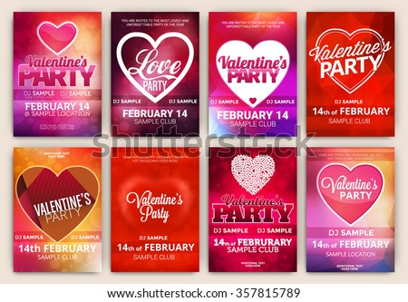 Set Valentines Day Party Poster Designs Stock Vector Royalty Free