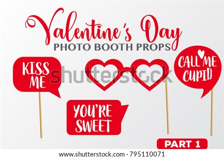 Set Valentines Day Photobooth Props Vector Stock Vector Royalty