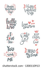set of valentine's day related words hand lettering typography vector
