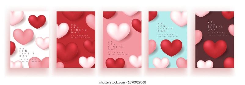 Set of Valentine's day sale poster or banner background.