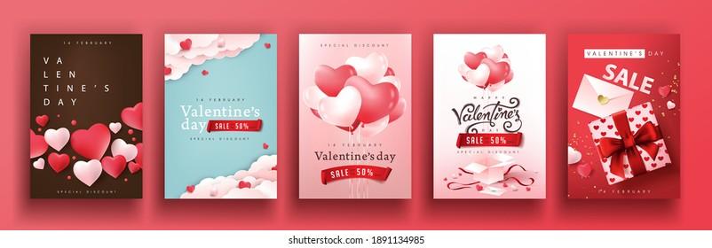 Set von Valentinstag Verkauf Poster oder Banner Hintergrund.