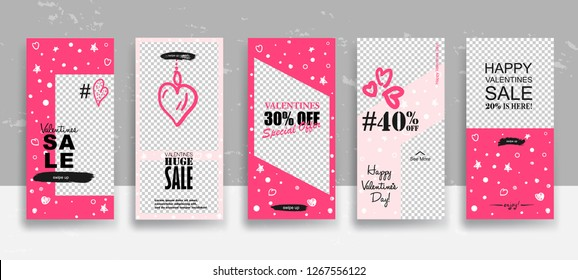 Set of Valentine's day Sale Stories template. Streaming. Creative universal Editable cards  in trendy style with Hand Drawn textures on transparent background for social media promo. Vector