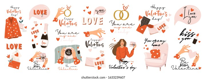 Set of Valentines day vector illustration with hand lettering. Trendy color palette and cute romantic elements and lovely typography. Good for card, wedding, scrapbook, logo, t shirt design.