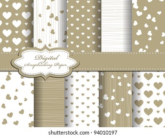 set of Valentines day vector paper for scrapbook
