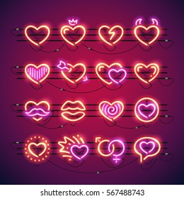 Set of Valentines neon hearts makes it quick and easy to customize your romance projects. Used neon vector brushes included.