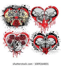 set, valentines skull with heart, grunge vintage design t shirts