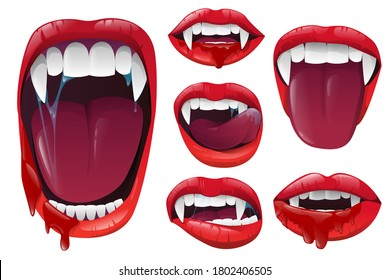 Set vampire lips and mouth with fangs ob white background. Red lips with long pointed canine teeth and bloody saliva express different emotions. Vector illustration