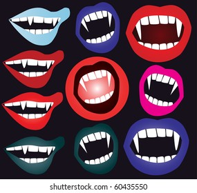 set of vampire mouth in vector