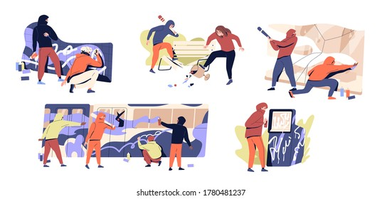 Set of vandals hiding under hoods damaging public property vector flat illustration. Collection of diverse people making harm paint and crush subway, building wall, glass showcase, park bench and atm