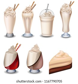 Set of vanilla desserts and drinks. Cheesecake, milkshakes, ice cream.