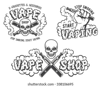 Set of vape, e-cigarette emblems, labels, prints and logos, Monochrome style, Isolated on white background.
