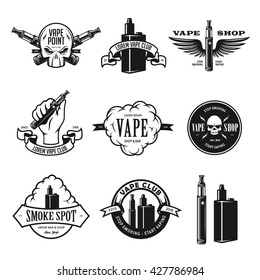 Set of vape, e-cigarette emblems, labels, prints and logos. Vector vintage illustration. Isolated on white background.