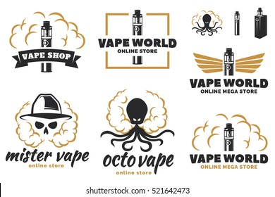 Set of vape, e-cigarette logo, emblems and badges isolated on white background. Vector illustration. Skull with smoke, octopus with smoke.