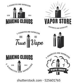 Set of vape, e-cigarette logo, emblems, and badges isolated on white background. Vector vintage illustration.