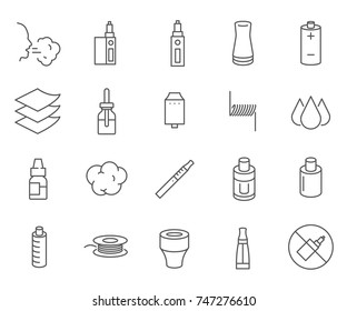 Set of vape Related Vector Line Icons. Contains such Icons as smoking, smoke, electronic cigarette, liquid for vaping and more.