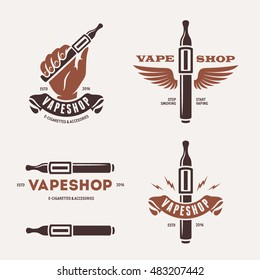 Set of vaping related labels. Vape shop emblems badges and design elements. Human hand with electronic cigarette. Vector vintage illustration.