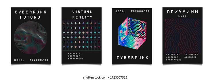 Set of vaporwave and synthwave style posters neon 3d figures. Collection of futuristic cyberpunk covers for music, hackathon or science event.