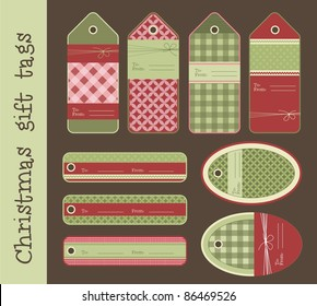 Set of variable Christmas gift tags, vector