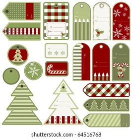 Set of variable Christmas tags, vector