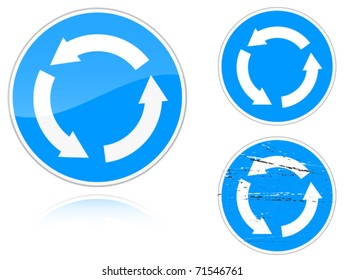 Set of variants a Circular motion - road sign isolated on white background. Group of as fish-eye, simple and grunge icons for your design. Vector illustration.