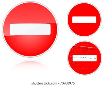 Set of variants no entry road sign isolated on white background. Group of as fish-eye, simple and grunge icons for your design. Vector illustration.