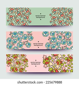 Set of varicolored line background.Strips background. Vector Design banners. Hand drawn illustration and place for your text.