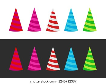 Set of varicoloured Holiday Cap on white and black backgrounds - Vector illustration