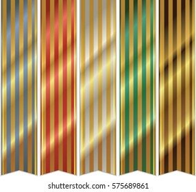 A set of varicoloured striped vertical ribbons, with golden stripes and shadows