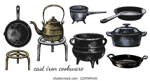 A set of varied cast iron cookware. Cauldron; ladle, frying pans, stew pan,kettle, roaster and stand. Vector vintage illustration of isolated kitchen utensils. Clipart.