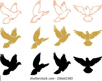 Set of Varied Doves Flying