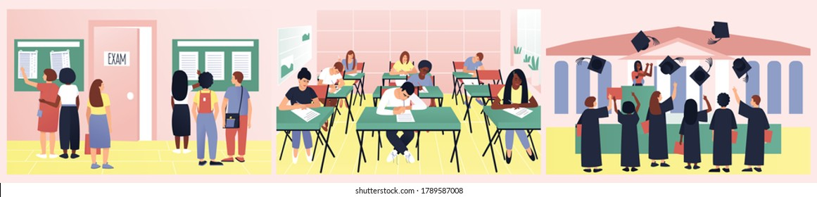 A set of varied and interesting student life. Students look at the exam results. Testing is underway in the classroom. At graduation, caps fly into the sky. Flat vector illustration.