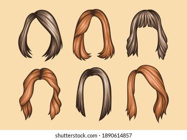 Set of Variety women hairstyles