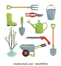 Set of various agricultural tools for garden care, colorful vector flat illustration