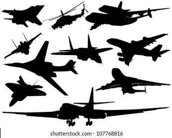 A set of various airplanes and helicopters