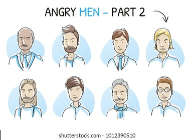 Set of various angry, dissatisfied, enraged men in business and casual clothes, mixed age in negative emotions. Hand drawn cartoon sketch vector illustration, whiteboard marker style coloring.
