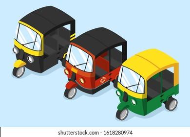 Set of various auto rickshaw bajaj tuk tuk isometric vector illustration